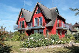 Modernes Ferienhaus mit Rohrdach